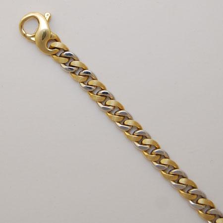 18k Gold Satin Shiny Rounded Curb Bracelet Bbb2562 Usa Jewels
